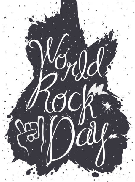 Paint Splashes with Guitar Shape for World Rock DaY Monochromatic design to celebrate World Rock Day with paint splashed like guitar shape, lightnings, star and sign of the horns inside of it. anarchy symbol stock illustrations