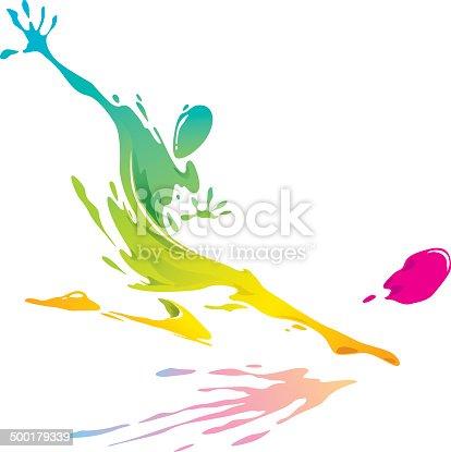 667381184 istock photo Paint splashing - Soccer player kicking the ball 500179339