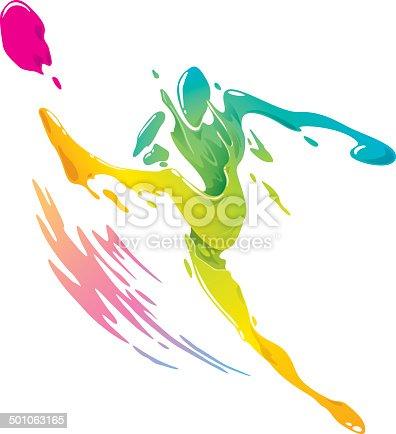 667381184 istock photo Paint splashing - Soccer player kicking the ball 501063165
