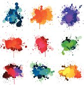 colorful paint splat isolated on white