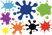 A group of 8 different paint drops/splats. Each in a different, and easily changeable colour. Each splat has a large roundish centre, perfect for placing type inside. Blends are used, no meshes, no gradients.