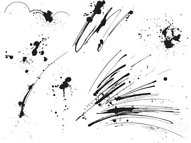Paint Splatters: Elements I A set of various vector ink streaks and splatter elements. Each element is grouped for easy editing. splattered stock illustrations