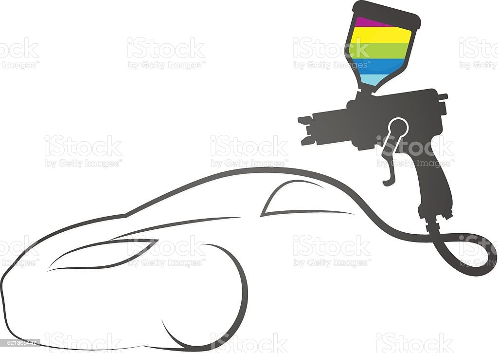 Paint spray gun auto design vector art illustration