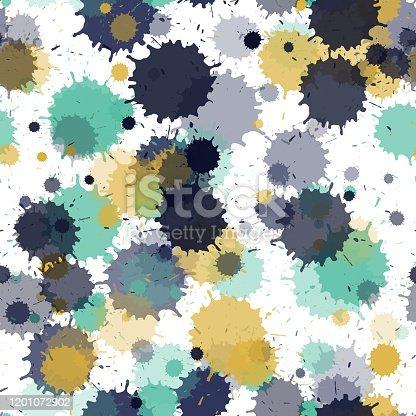 Graffiti spray transparent stains vector seamless wallpaper pattern. Messy ink splatter, spray blots, mud spot elements seamless. Watercolor paint splashes pattern, smear liquid stains.