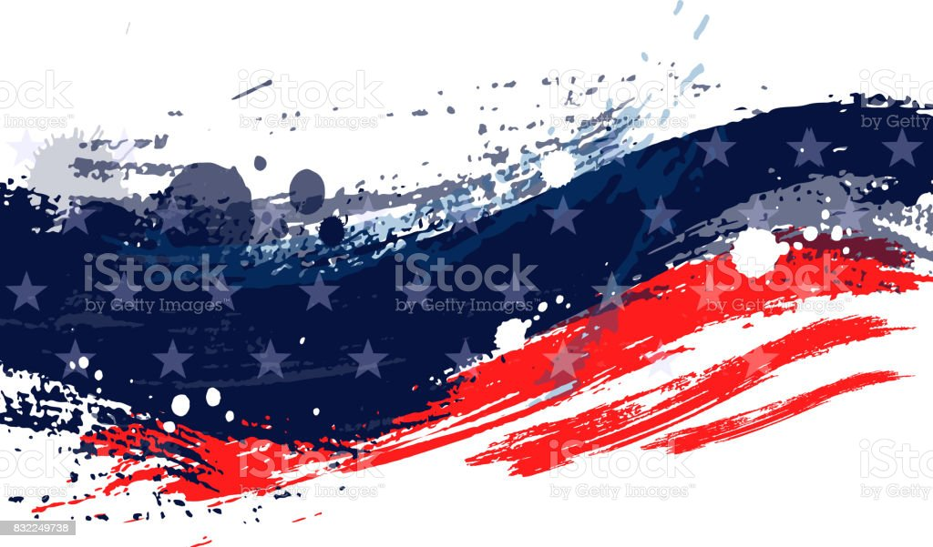 Paint stroke american flag vector art illustration