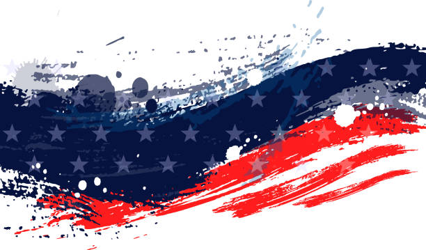paint stroke american flag - american flag stock illustrations