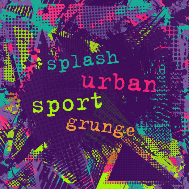 paint stroke copy space. abstract urban pattern. grunge texture background. scuffed drop sprays, neon dots, paint, splash. urban modern dirty dark wallpaper. fashion textile, sport fabric. torn style - graffiti backgrounds stock illustrations, clip art, cartoons, & icons