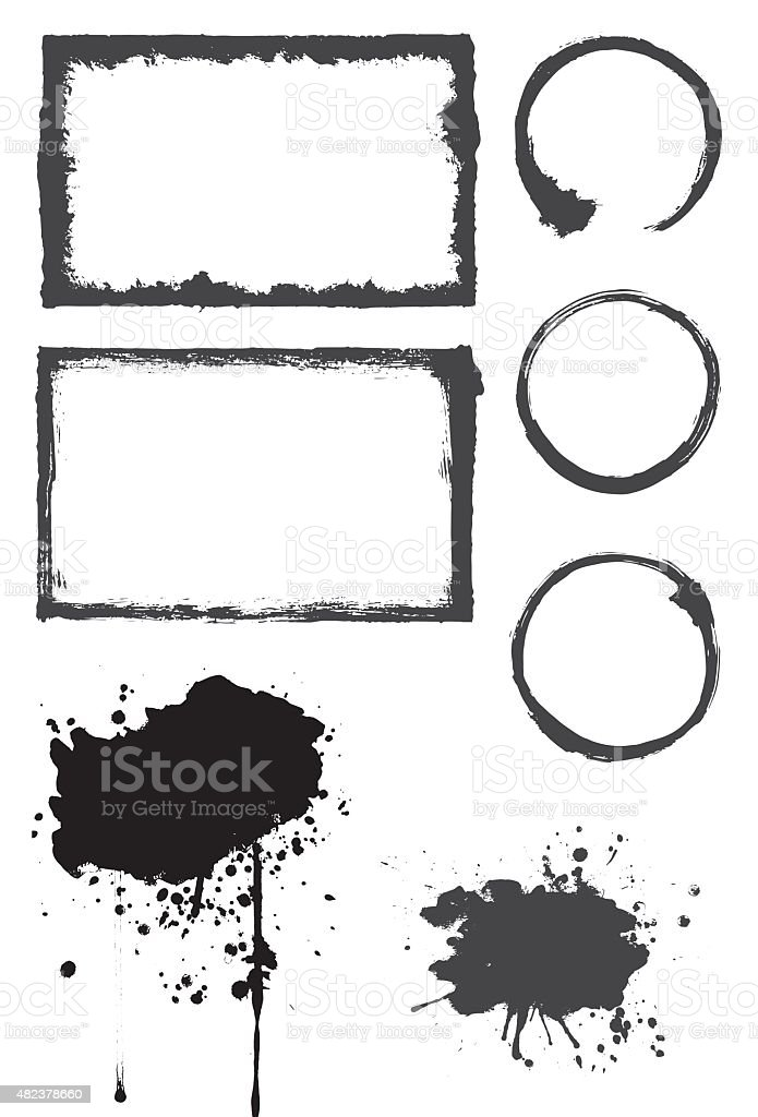 Paint Texture Element Set vector art illustration