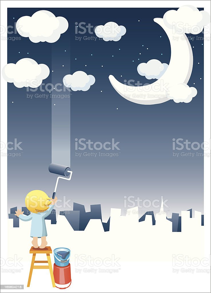 paint the starry night royalty-free stock vector art