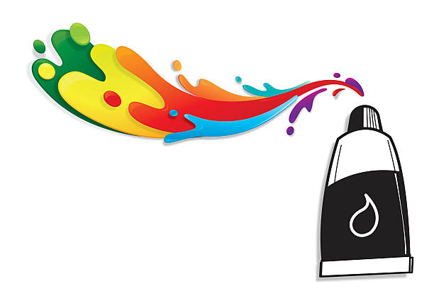 paint tube with colourful splatters - art class stock illustrations, clip art, cartoons, & icons