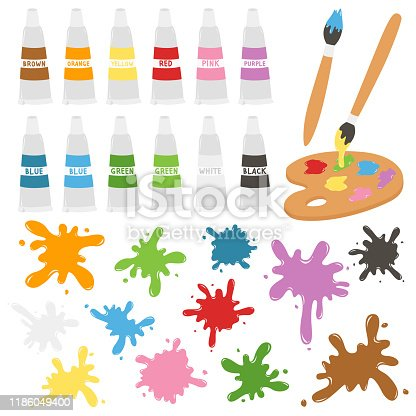 istock Paint Tubes and Paint Splatters Vector Set 1186049400
