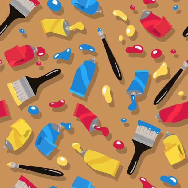 ilustraciones, imágenes clip art, dibujos animados e iconos de stock de patrón de tubos de pintura - clase de arte
