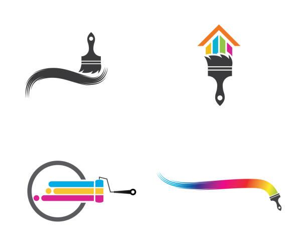 illustrazioni stock, clip art, cartoni animati e icone di tendenza di paint vector icon illustration design - quadro