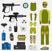 Paintball game vector guns and player body paintball club symbols icons protection uniform and active sport design elements shooting man costume equipment target illustration.