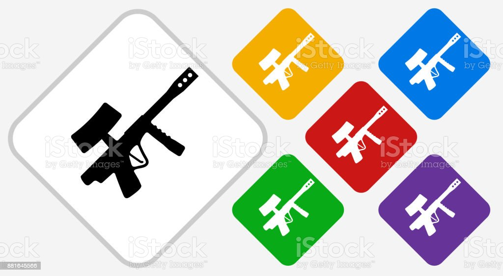 Paintball Gun Color Diamond Vector Icon vector art illustration