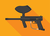 Vector illustration of a paintball gun against an orange background in flat style.