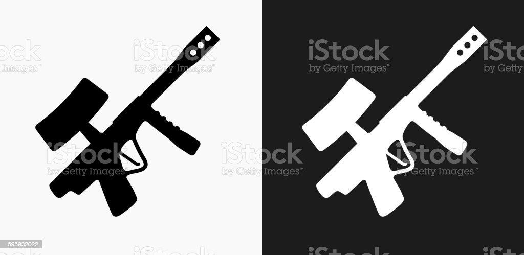 Paintball Gun Icon on Black and White Vector Backgrounds vector art illustration