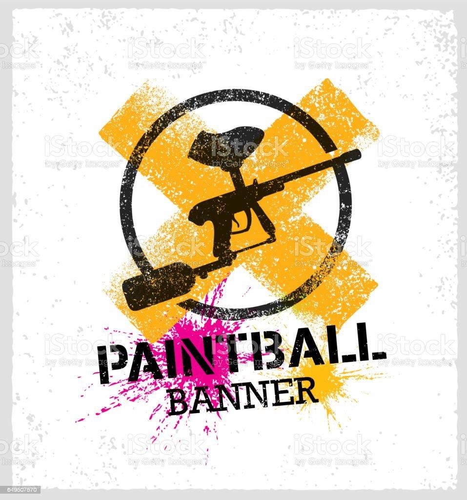 Paintball Marker Gun Vector Splat Banner On Grunge Background Stock Illustration Download Image Now Istock