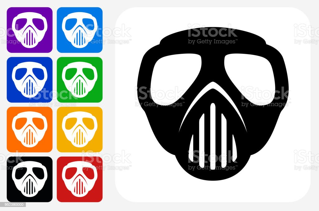 Paintball Mask Icon Square Button Set vector art illustration