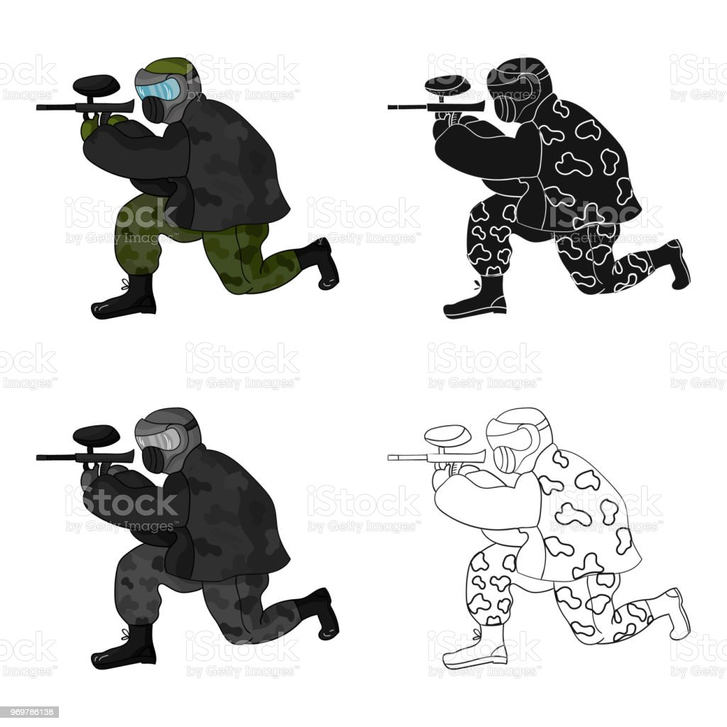 Paintball player icon in cartoon style isolated on white background. Paintball symbol stock vector web