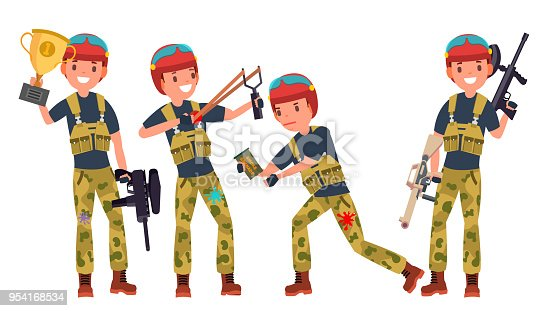 Paintball Player Vector. Proffesional Sport. Holding Paintball Weapon. Man Paintball Player. Isolated On White Cartoon Character Illustration