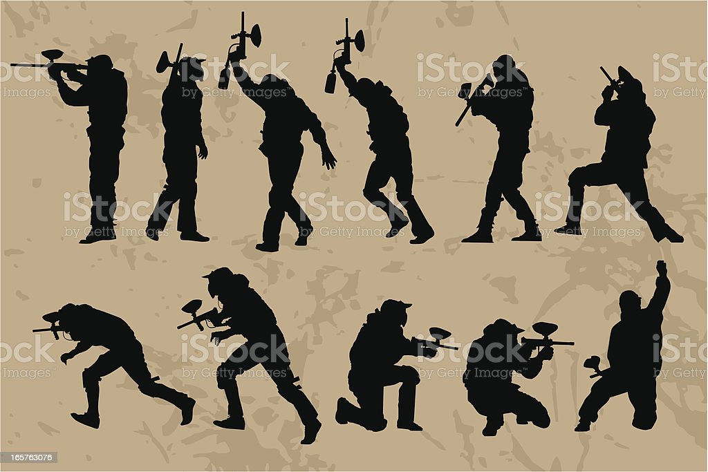 Paintball Players silhouettes royalty-free stock vector art