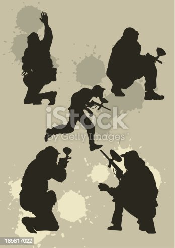 istock Paintball players  silhouettes 165817022