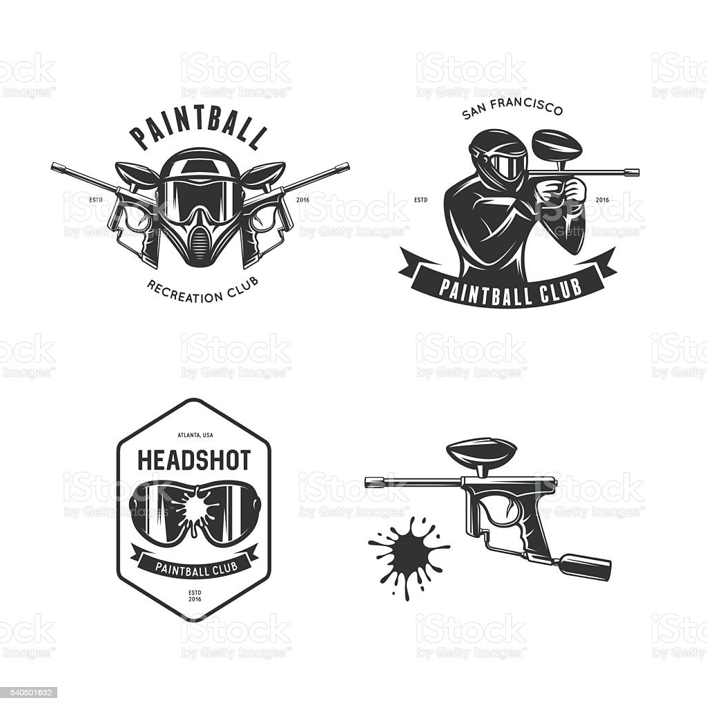 Paintball related design elements set. Vector vintage illustration. vector art illustration