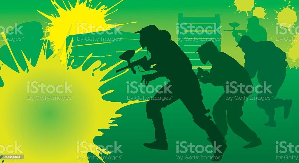 paintball team vector art illustration