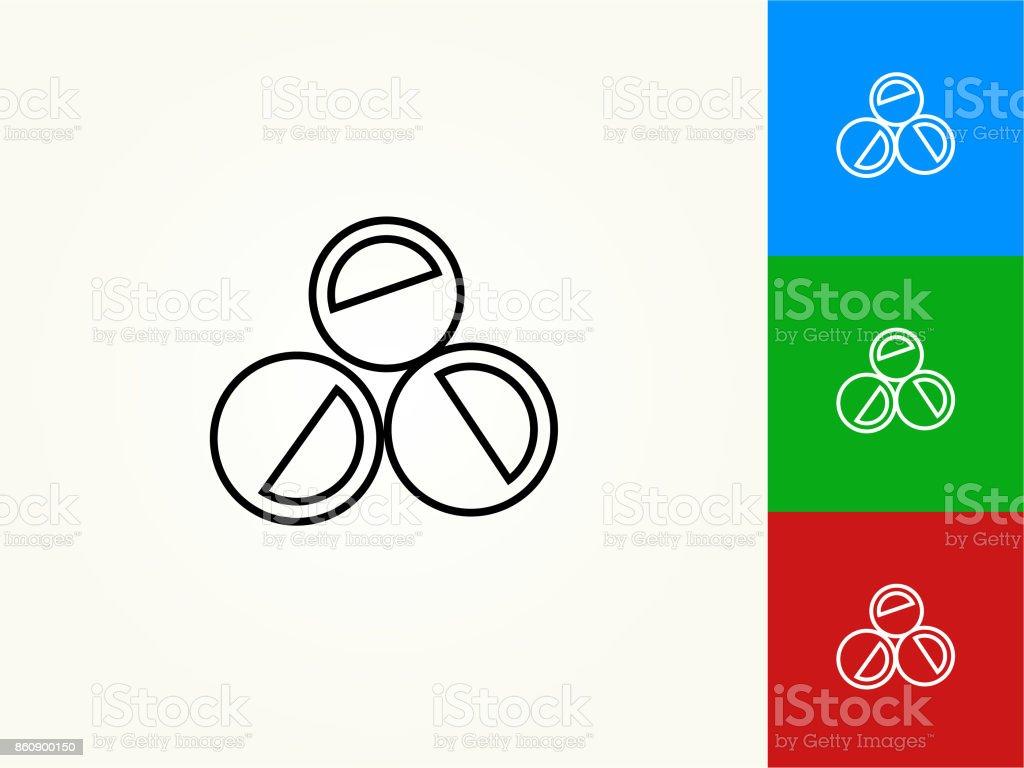 Paintballs Black Stroke Linear Icon vector art illustration