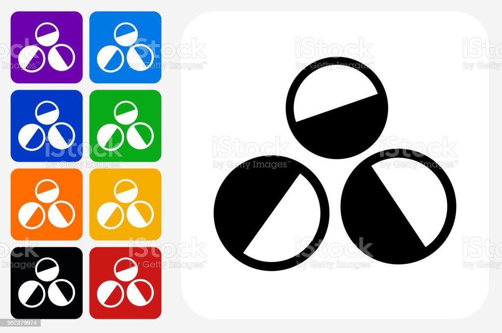 Paintballs Icon Square Button Set vector art illustration