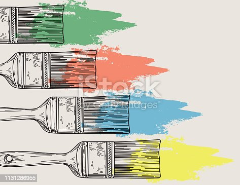 Line artwork with some paintbrushes smearing paint on a neutral coloured background.