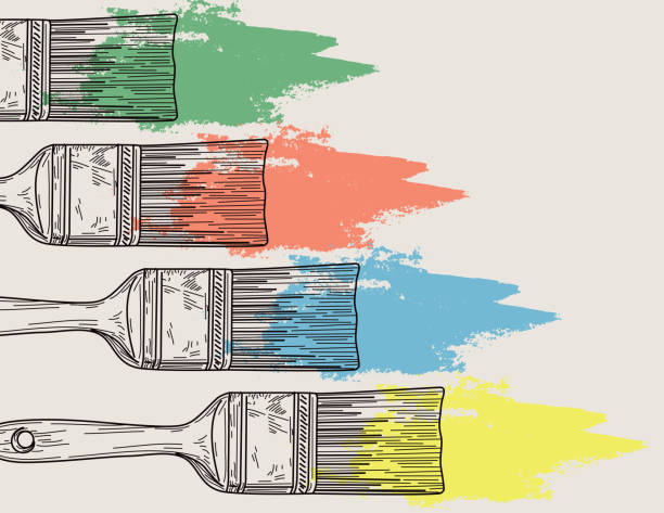 Paintbrush and Paint Background vector art illustration