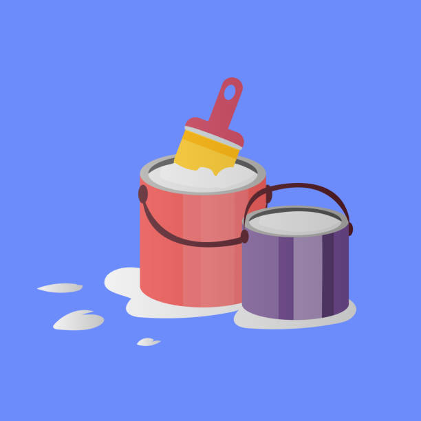 paintbrush and  paint buckets Illustration of paintbrush and two opened paint buckets with handles. Vector objects in flat style paint can stock illustrations