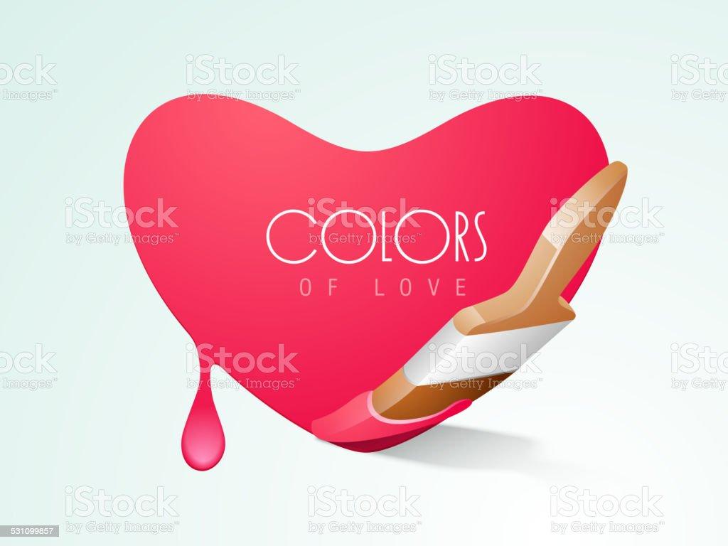 Paintbrush forming a heart shape. vector art illustration