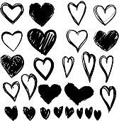 Paintbrush hand drawn heart design elements. Valentine's Day vector illustration set