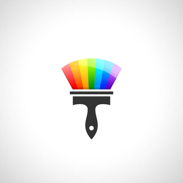 pinsel gemacht des farbspektrums - hausfarbpaletten stock-grafiken, -clipart, -cartoons und -symbole
