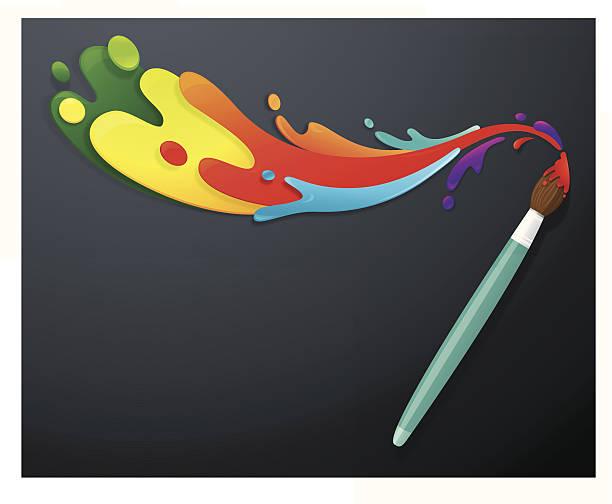 Paintbrush with colourful paint splatters vector art illustration