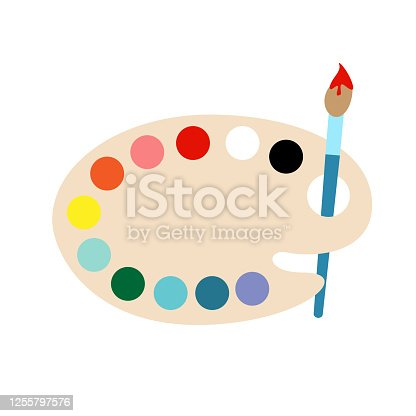 istock Paintbrush with pallet on a white background flat vector illustration. 1255797576