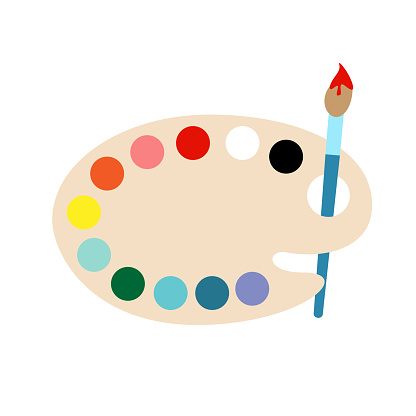 Paintbrush with pallet on a white background vector illustration.
