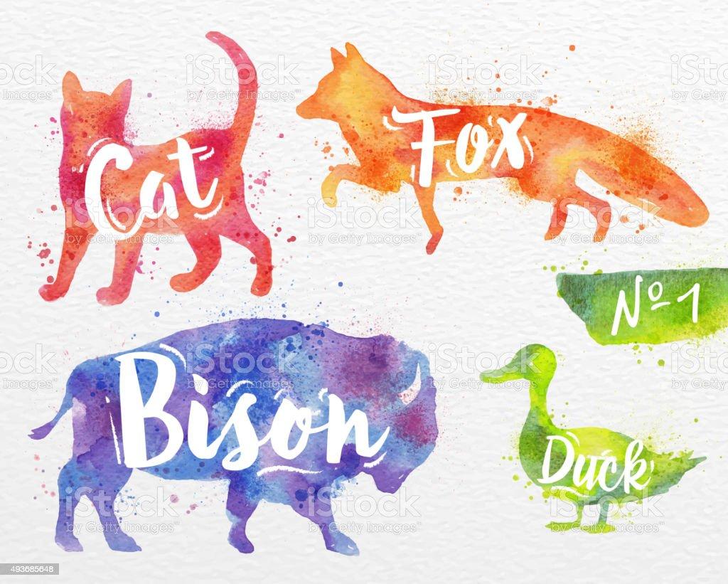 Painted animals deer vector art illustration