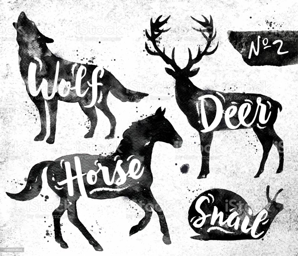 Painted black animals deer vector art illustration
