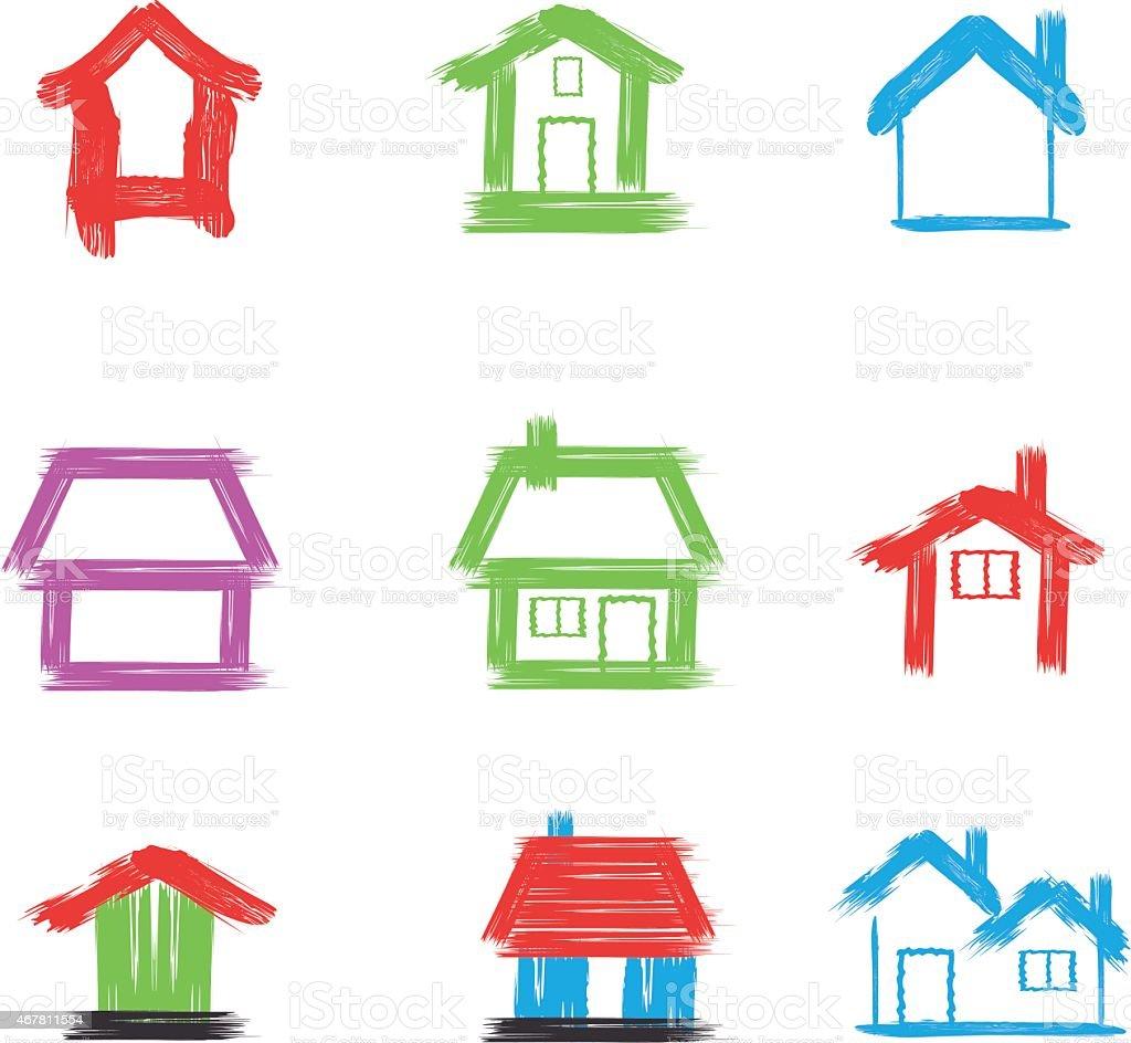 Pennello dipinto casa stilizzata immagini vettoriali for Casa disegno