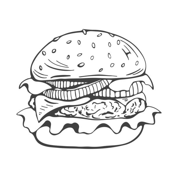 painted burger, great delicious sandwich, black and white grunge retro poster. vector illustration - cheeseburger stock illustrations