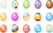 painted colorful easter chocolate eggs holiday spring icons isolated set flat design vector illustration