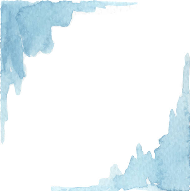 painted corners abstract watercolor painted blue frame corner design blue borders stock illustrations