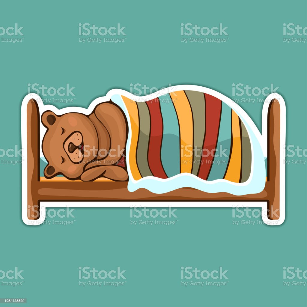 Painted cute funny brown bear in hibernation lying on the bed covered with blanket and sleeping sticker, colorful hand drawing, cartoon character, vector illustration, isolated on colored background vector art illustration