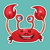 Painted cute funny crab smiling sticker, design element, print, colorful hand drawing, cartoon character, vector illustration, caricature, isolated with white stroke on colored background