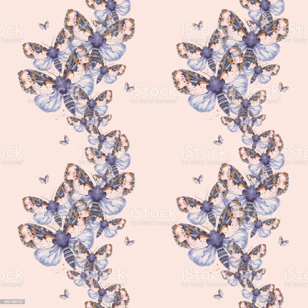 painted drawing watercolor shaggy butterfly teddy bear seamless