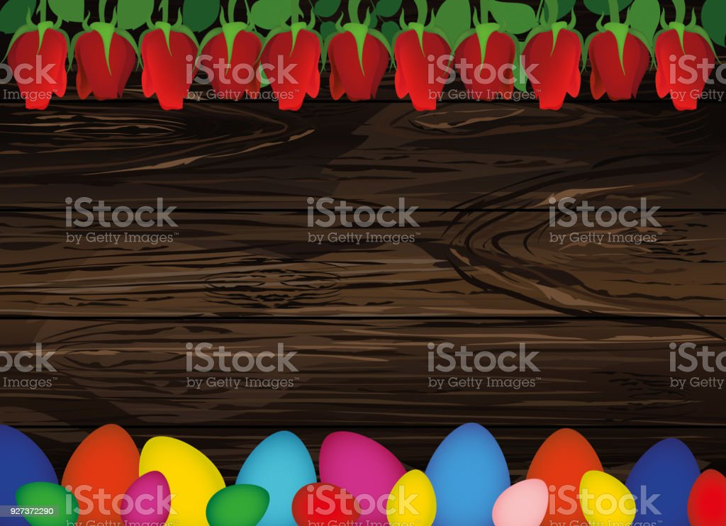 Painted Easter eggs with a pattern. Beautiful red flowers. Roses. Empty place for your ad, message or message. Greeting card. Free place. Vector on wooden background Painted Easter eggs with a pattern. Beautiful red flowers. Roses. Empty place for your ad, message or message. Greeting card. Free place. Vector on wooden background. April stock vector
